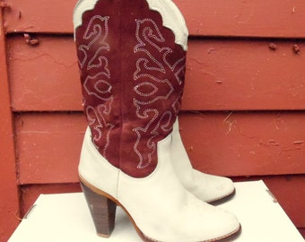 70s/80s Cream and Chocolate Two Tone Suede and Leather Riding ZODIAC Boots Womens 6