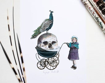 Halloween Gothic inspired Victorian girl with a skull and peacock illustration A4 print