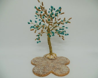 Wire tree sculpture  with glass beads  , bonsai tree of life , feng shui tree ,blue & gold tree