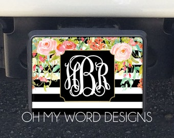 Monogram Car Trailer Hitch-Car Accessories-Monograms-Hitch Cover-Trailer Hitch-Watercolor Flowers Hitch Cover-Shabby Chic