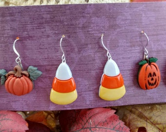 pumpkin earrings candy corn earrings jack o'lantern earrings fall earrings Halloween holiday earrings thanksgiving earring brockus creations