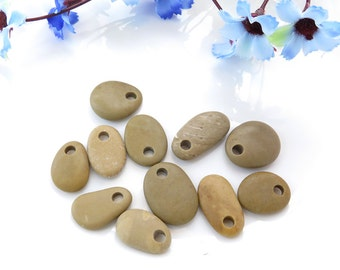 Top Drilled Beach Stone Pendants, 11 Big Pieces Grey Mix Beach Pebbles, Unique Jewelry Supplies, Diy Supplies