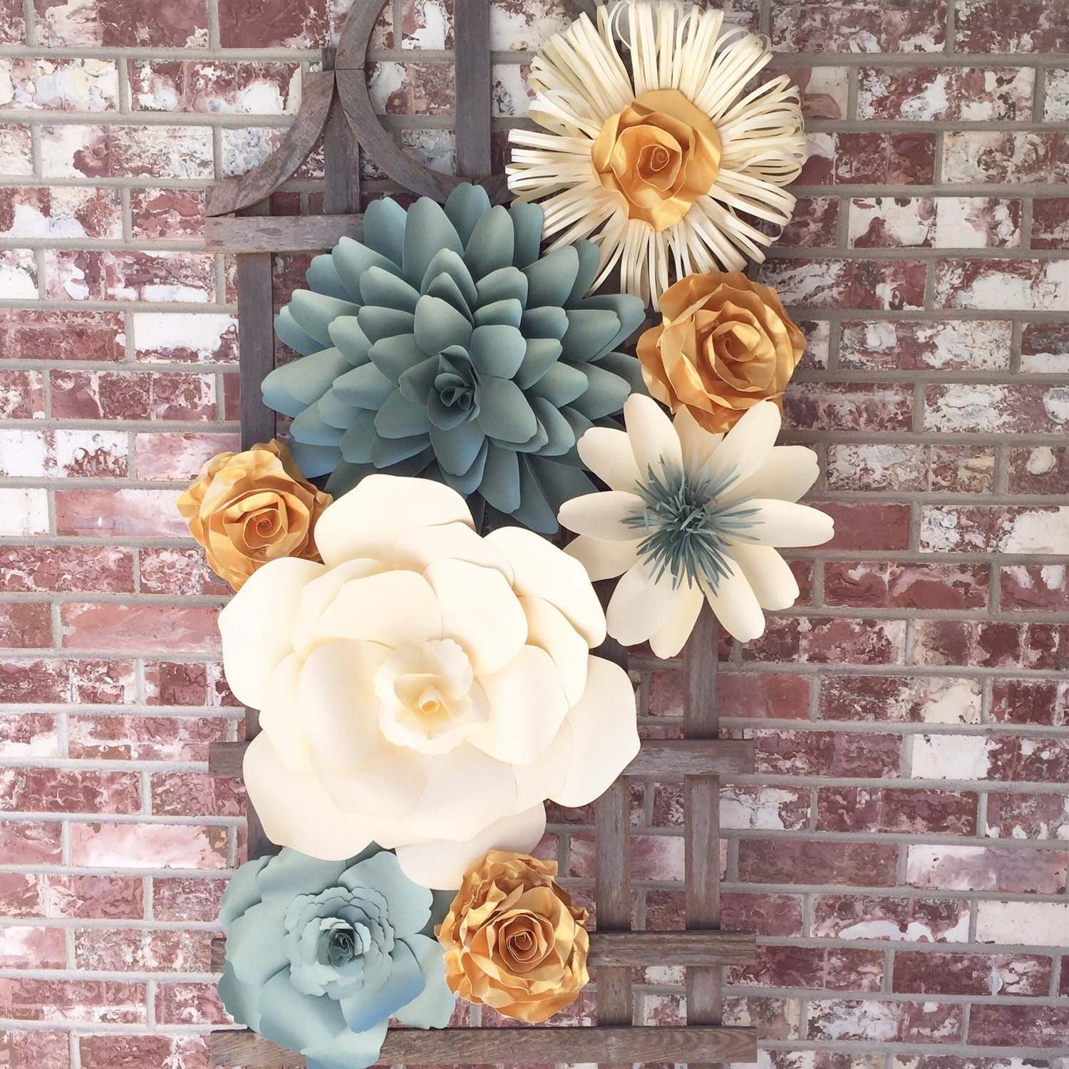 Large paper flower wall decor for weddings by barbanndesigns for Flower decoration made of paper