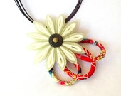 Kanzashi Flower Pendant Green and Red Folded Fabric Origami Japanese Inspired Jewelry