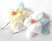 Cute Kanzashi Hair Flowers Cream White Sky Blue Bobby Pins