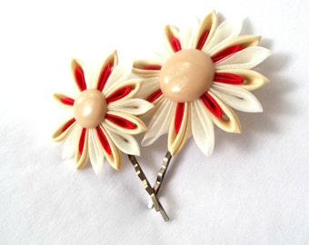 Red and Khaki Flower Bobby Pins Tsumami Kanzashi Fabric Flowers Mother Daughter