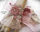 Hand Dyed Lace Cuffs - Victorian Cuffs, Lace Bridal Cuffs, Bridal Jewelry, Victorian Jewelry, Lace Jewelry