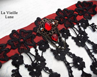 Black and Red Victorian Choker, Lace Choker, Lace Gothic Bridal Choker, Lace Jewelry