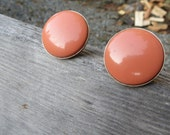 Coral or Salmon Round Vintage Classic Clip On Earrings