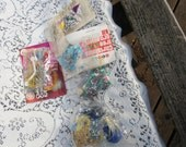 Five Packages of Vintage Sequins Pins Ribbons from Vintage Craft Kits Christmas Ornament Kits