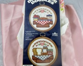 Unopened Cross Stitch Kit Two Kitchen Small Pictures Round Wood Frames by Vogart Crafts Corp Decorator Doubles