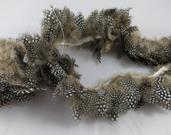 One Yard and 6 inches of Thick Gray Spotted Feather Trim Supplies Crafts Sewing