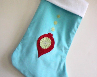 Ornament Aqua Blue Modern Christmas Stocking - Personalized Christmas Stocking - Blue Stocking
