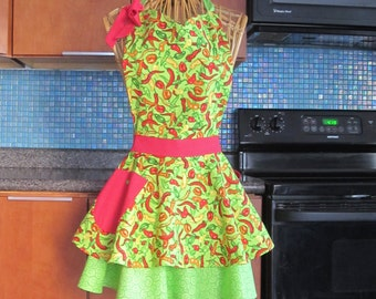 Chili Peppers Apron Lime Green, Lime Green Chili Pepper Apron, Chili Peppers Flirty Apron, Flirty Apron, Chili Peppers, Apron Chili Peppers