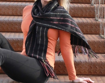 Handwoven Shawl - Scarf - Black - Colourful - Unisex - Scarve - Valentine's day gift - Easter gift