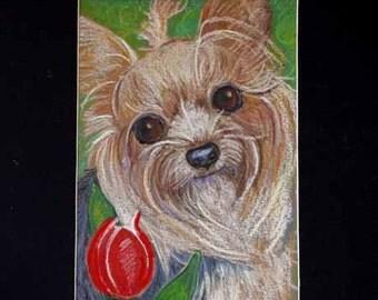 yorkie painting art dog yorkshire terrier ORIGINAL Oil Pastel Painting Dog Red Tulip