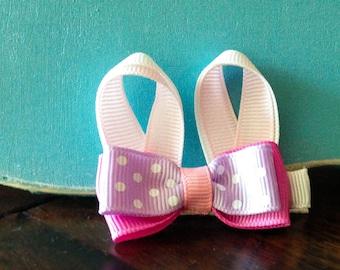 Easter bunny ears ribbon sculpture hair clip / sculptured ribbon hair clip / baby hair clip / girl hair clip / barrette.