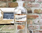 Antique Label Under Glass Apothecary Bottle