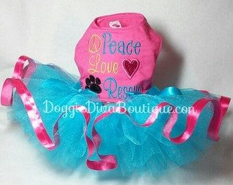 Dog Dress - Tutu Dress Peace Love Rescue Small
