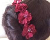 Flower Hairpins x 6. Dark Red  Bridal, Wedding, Bridesmaid, Regency, Victorian.