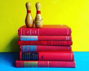 Red Books Instant Library Collection by Color Photography Props Vintage Decorative Books Nautical