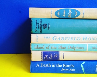 Tan & Blue  Books Instant Library Collection Decorative Vintage Book Bundle Photography Props Beige French Country Neutral