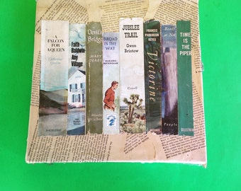 OOAK Art Work made with  Upcycled Vintage Book Dust Jackets, book Pages Unique Recycled Eco Friendly Bibliophile Gift