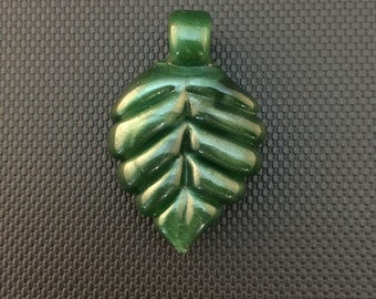 Sale // Glass Pendant // Mighty Moss Leaf