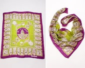 Political Novelty Scarf • Silk Scarf • Presidential Purple Scarf • Historical Scarf • Original by Paula in Bright Green  | SC215