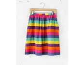 Rainbow Stripe Skirt S • Full Skirt with Pockets Small | SK253