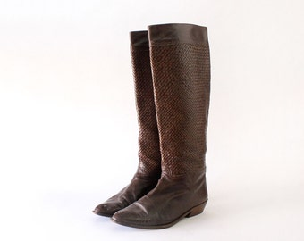 Charles Jourdan Boots 7 • Woven Leather Boots • Brown Leather Boots • Knee High Boots Made in Spain • Pointed Toe Shoes | SH240