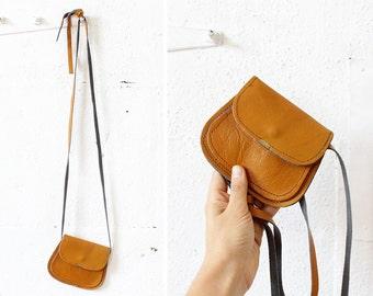 Small Leather Crossbody Bag • Orange Leather Bag • Small Cross body Bag • Leather Pouch • Festival Bag • Tan Leather Bag • Small Purse |B655