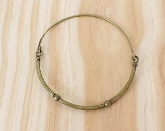 Brass Choker • Choker Necklace • 70s Jewelry • Brass Necklace • Tube Necklace • Ball Necklace • Vintage Choker • Boho Choker   N203