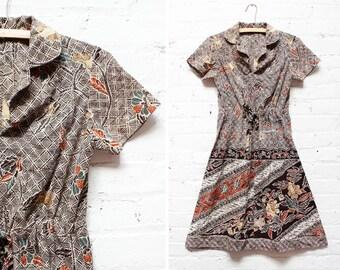 70s Batik Dress S • Bohemian Flared Dress Small | D399