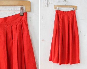 Red Midi Skirt with Pockets XS/S • Scarlet High Waist Cotton Skirt | SK255