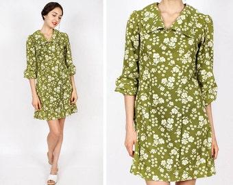 60s Dress XS • Mod Moss Flower Dress w/ Peasant Sleeves Small | D275