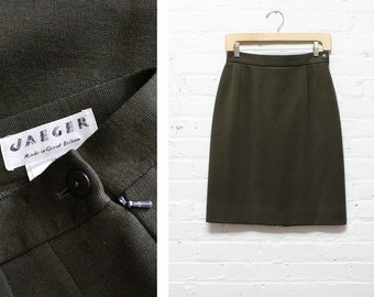 Jaeger Olive Green Wool Skirt S • Vintage High Waisted Pencil Skirt Small | SK355