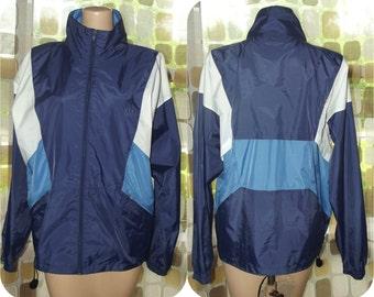 Vintage 80s Windbreaker Jacket | 90s Windbreaker | USA Olympic | Nylon Jacket | Vaporwave | Sz Small | Blue White