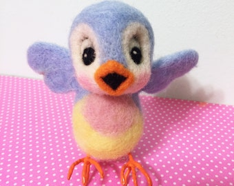 Bluebird of Happiness / Blue Bird / Felted with Claws / Art Doll / Needle Arts / Cute Bird