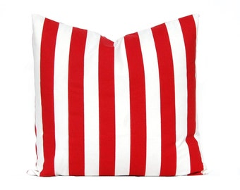 Red Pillow Cover - Stripe Pillow Cover - Throw Pillow Cover - Red and White - Living Room Decor - Red Decorative Pillow - Sofa Pillow