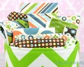 12pc Baby Gift Set Basket ~ All Star Riley Blake, Bib, Burp Cloth, Bandana Bib, Wash Cloth, Drawstring Bag, Basket ~ Great Baby Shower Gift
