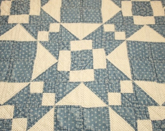 Primitive Indigo Blue and White Calico 1800s Antique Quilt Piece - 44 by 20 Inches