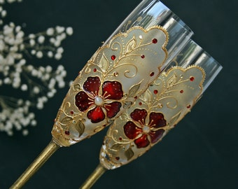 Wedding Glasses, Champagne Glasses, Red and Gold Glasses, Hand Painted, Set of 2