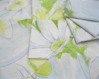 VINTAGE SHEET Fat Quarter Floral Blue Green Yellow