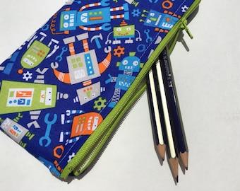 Zipper Pouch Pencil Pouch Pencil Case Robot Kids School Supplies