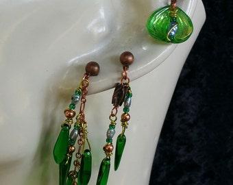 cartilage earring, cartilage earrings for pierced ears, glass, jewelry, dangle, wire-wrapped, pearl earrings, freshwater pearl earrings