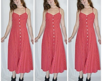 Vintage 1980s Bright Red with White Polka Dots Fit and Flare Button Front Midi Sun Dress Sz S