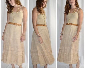 SALE Thru July Antique Victorian Light Tan Nude Colored Petticoat Skirt Waist to 40 Inches