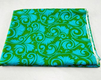 Vintage Green & Turquois Swirl Almost 3 Yards Fabric Heavy Woven Cotton Blend Lowenstein and Sons