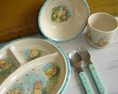 Vintage Winnie The Pooh 5 Piece Dish Set ~ Christopher Robin ~ Silverware ~ Sectioned Plate ~ Bowl ~ Cup ~ Spoon ~ Fork ~ ELANDIA ~ Taiwan